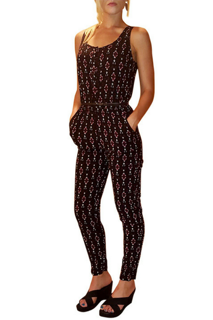 Black Full Length Jumpsuit with Rust Tribal Pattern from NIKKI LUND!