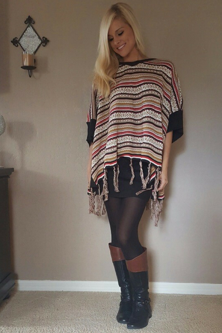 BOUTIQUE TASSEL SWEATER CAN BE WORN AS A PONCHO OR CARDIGAN! EARTH TONE, TAN TRIBAL.