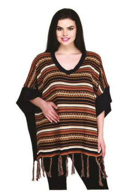 BOUTIQUE TASSEL SWEATER CAN BE WORN AS A PONCHO OR CARDIGAN! BROWN TRIBAL.