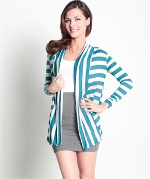Mint Striped Flyaway Cardigan!