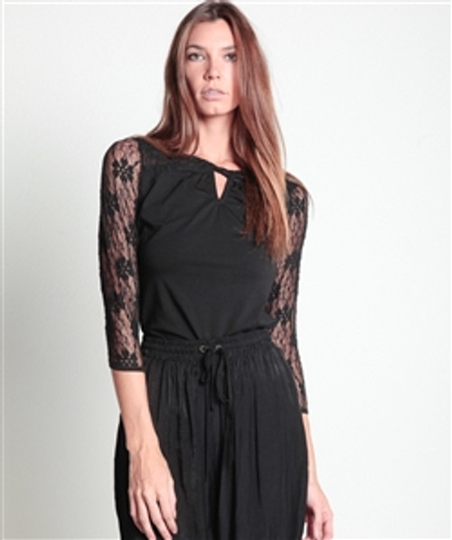 100% Cotton Lace Sleeve Top! Solid Black.