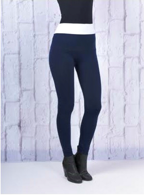 Butt-Lifting, Body-Shaping Leggings. Navy with White Yoga Waistband. One Size.