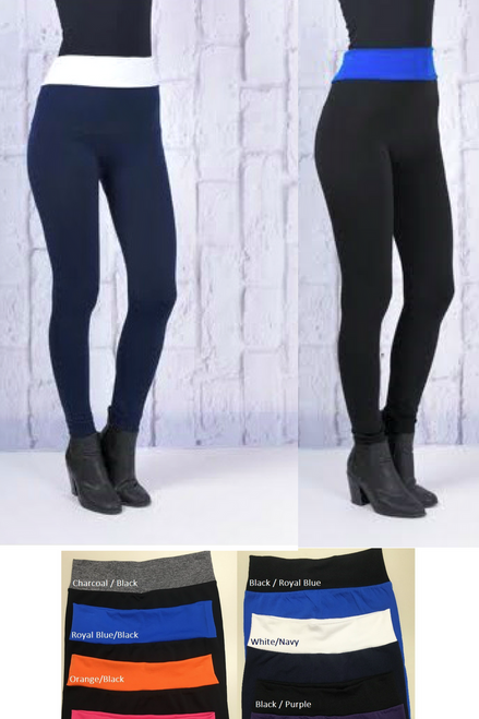 Butt-Lifting, Body-Shaping Leggings. Blue with Black Yoga Waistband. One Size.