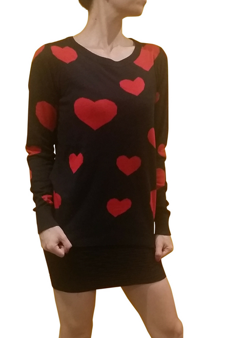 65% Cotton Classic Black Sweater with Red Hearts!