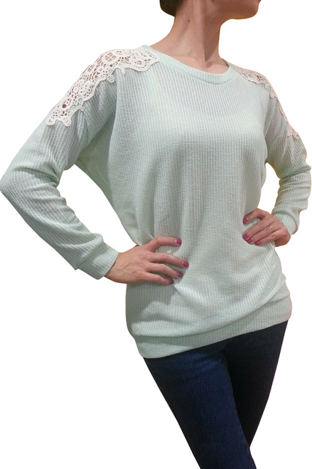 Boutique Long Sleeve Top with Crochet Shoulders! Mint.