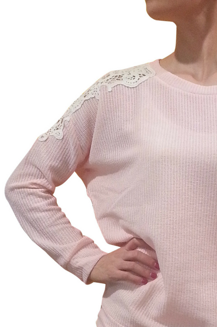 Boutique Long Sleeve Top with Crochet Shoulders! Blush.