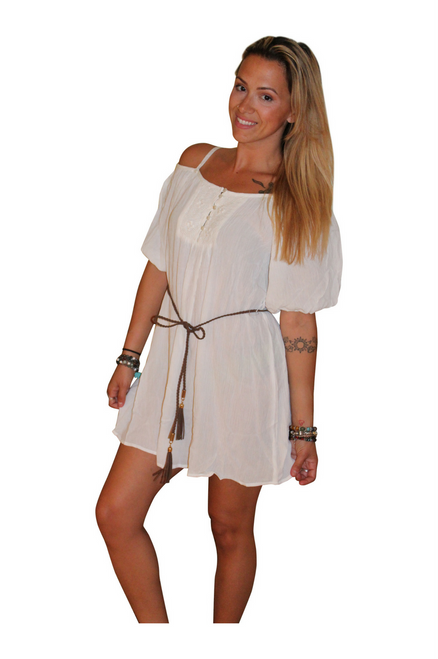 95% Cotton Boho-Chic Top/Dress with Braided Rope Belt!