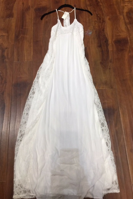 Long White Maxi Dress with Lace is a True Boutique Item!