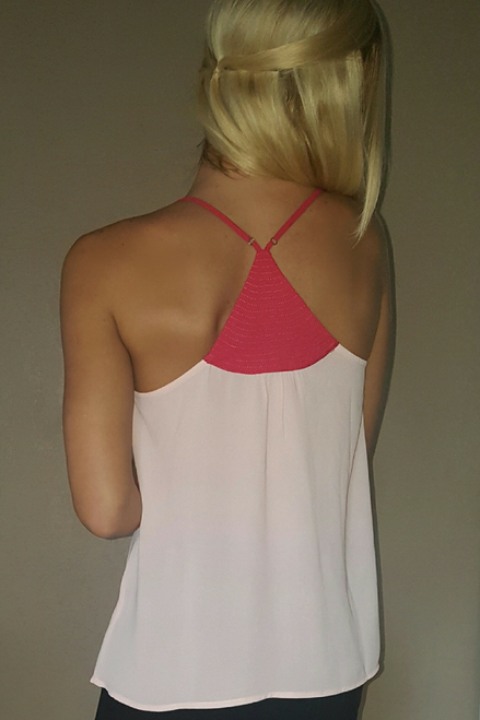 Blush Spaghetti Strap Top with Metal Accent. Americas Hottest Brand!