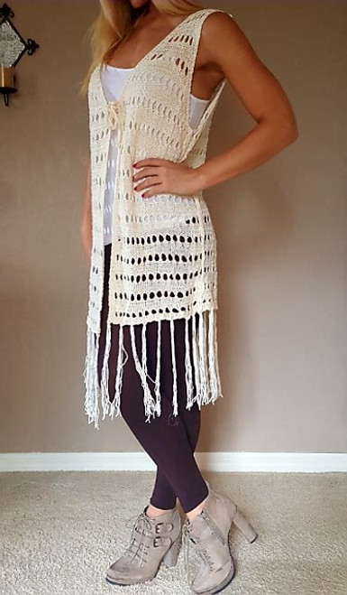 BOUTIQUE CROCHET CARDIGAN WITH BOHO-CHIC TASSELS!  IVORY. ONE SIZE (Up to Size 18).