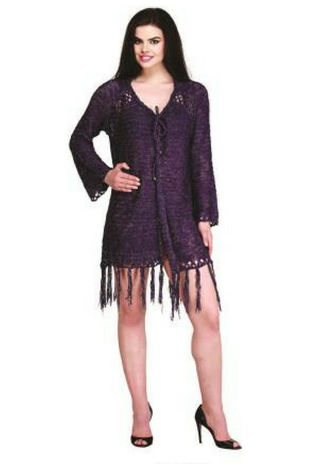 BOHO-CHIC PONCHO CARDIGAN IN CROCHET WITH TASSELS!  PURPLE. ONE SIZE (Up to Size 18).