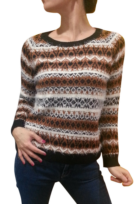 Faux Wool Sweater from CACHE BOUTIQUE! Brown Tribal.