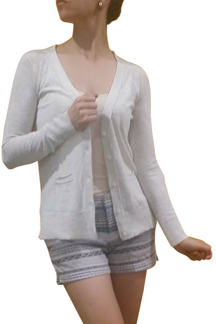 100% Lightweight Cotton Button Down Cardigan! Heather Taupe.