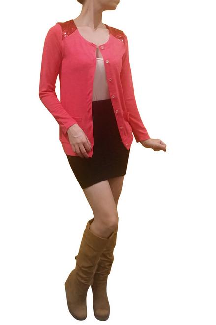 96% Cotton Sequin Shoulders Cardigan! Coral.