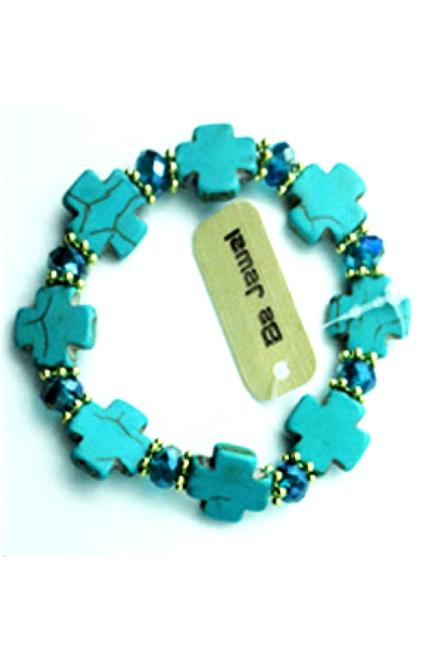 Boho-Chic Faux Turquoise Bracelet! Square Crosses.