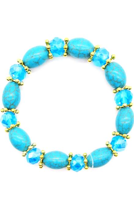 Boho-Chic Faux Turquoise Bracelet! Oval Shapes.