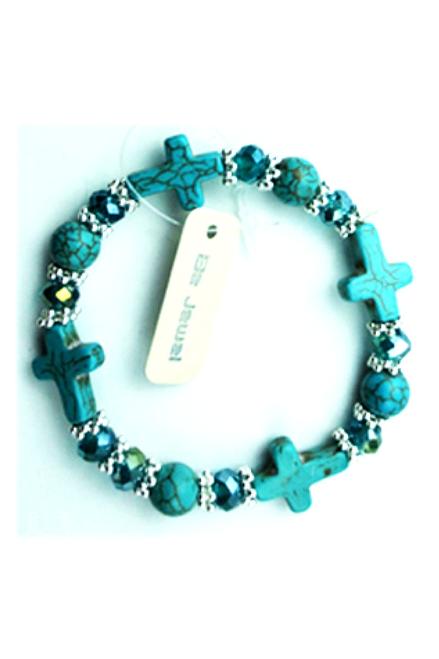 Boho-Chic Faux Turquoise Bracelet! Crosses.