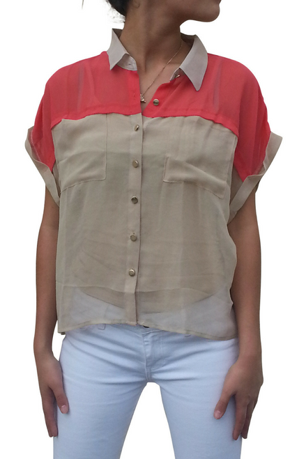 Taupe & Coral Colorblock Buttondown Top with Collar!