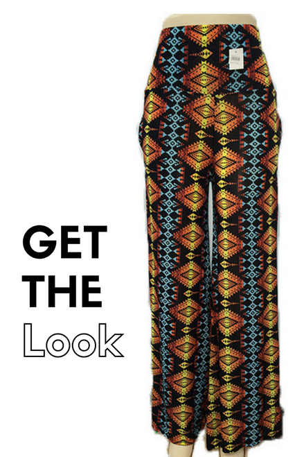 Bold Print Palazzo Pants! Vertical Aztec Pattern with Brown & Turquoise.
