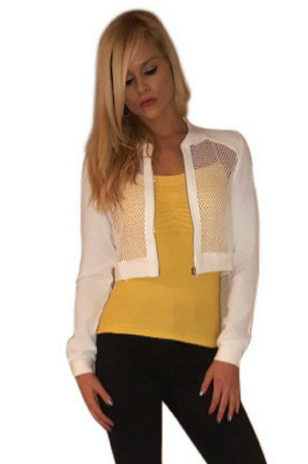 Boutique Crop Top Activewear Jacket! Solid White with Fishnet.