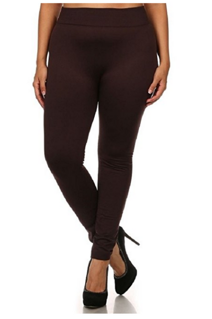 PLUS SIZE Brown Fleece Lined Leggings are Perfect for Fall! One Size Fits Most Plus.