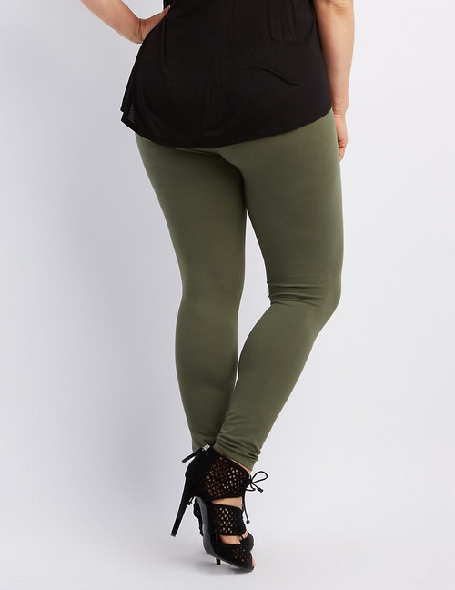 PLUS SIZE Olive Green Fleece Lined Leggings are Perfect for Fall! One Size Fits Most Plus.