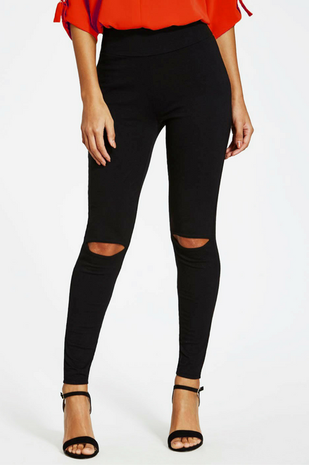 Solid Black Leggings with Trending Cutout Knees!
