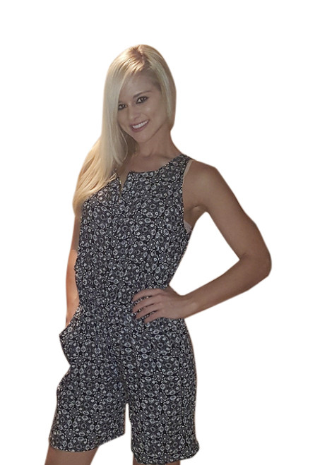 Paisley Romper with Zipper Front! One Size (fits up to size 14).