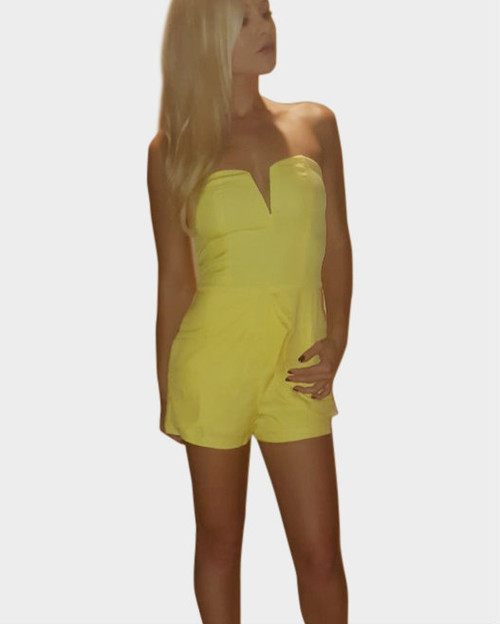 Peplum Romper from Boutique Brand with Zip-Up Back! Hot Yellow.