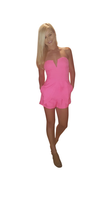Peplum Romper from Boutique Brand with Zip-Up Back! Hot Pink.