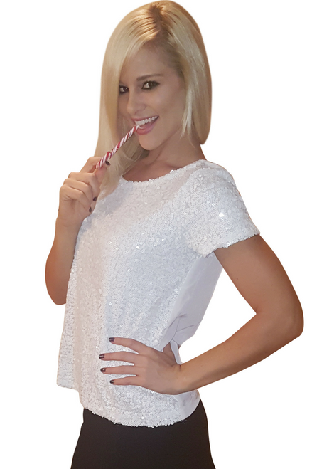 Short Sleeve Sequin Top Is Top Quality From America's Hottest Mall Brand! White.
