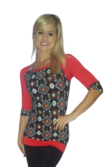 Aztec Pattern 3/4 Sleeve Top! Black with Red.