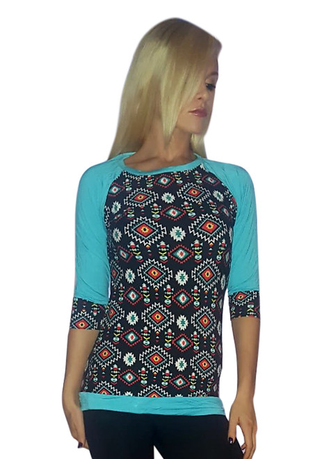 Aztec Pattern 3/4 Sleeve Top! Black with Turquoise.