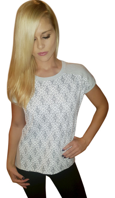 Major Brand Cotton Top with Raised Paisley Overlay!