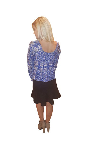 Blue Boho Chic Peasant Top with Crochet Accents From Derek Heart!
