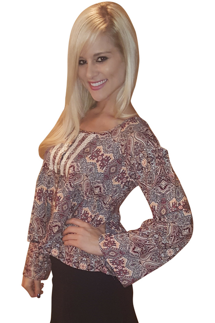 Orange/Brown Boho Chic Peasant Top with Crochet Accents From Derek Heart!