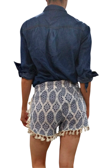 100% Rayon Challis Shorts with Pom Poms! Blue Paisley. From MAZE!