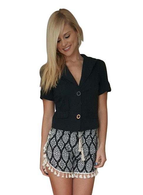 100% Rayon Challis Shorts with Pom Poms! Black with White Paisley. From MAZE!