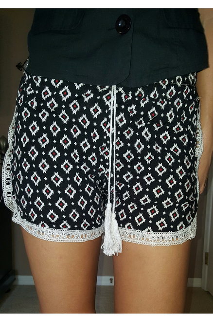 100% Rayon Challis Shorts with Lace Trim! Black Aztec Pattern. From MAZE!