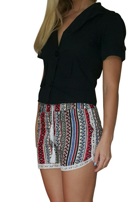 100% Rayon Challis Shorts with Lace Trim! Red/White Aztec Pattern. From MAZE!