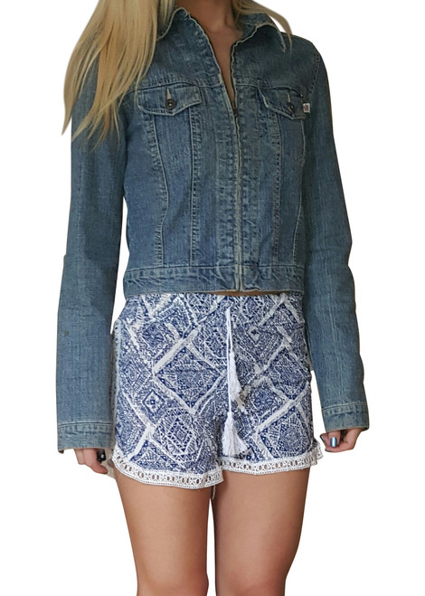 100% Rayon Challis Shorts with Lace Trim! Blue/White Tribal Pattern. From MAZE!