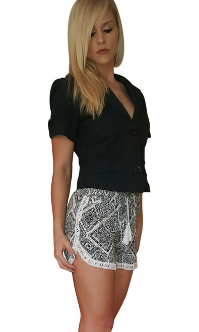 100% Rayon Challis Shorts with Lace Trim! Black/White Tribal Pattern. From MAZE!