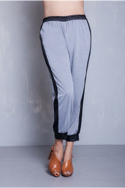 PLUS SIZE JOGGERS! HEATHER GREY WITH FAUX LEATHER. 95% COTTON.