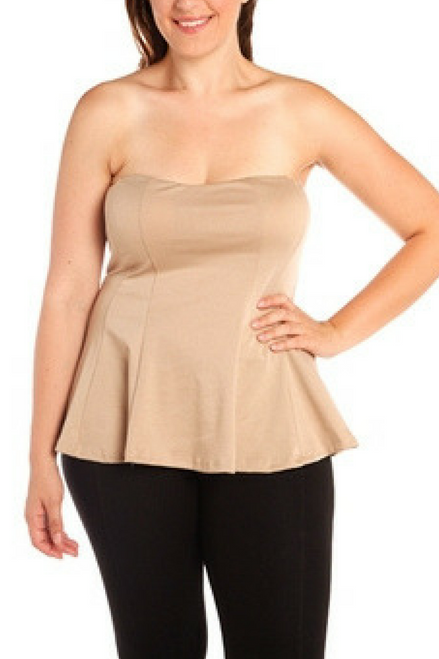 PLUS SIZE NUDE STRAPLESS PEPLUM TOP!