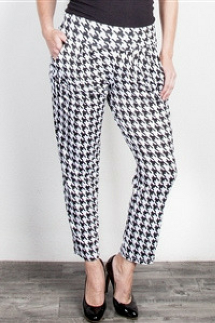 PLUS SIZE HOUNDSTOOTH PANTS WITH FOLDOVER WAIST FROM CAREN SPORT!