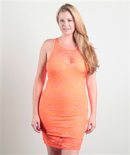 PLUS SIZE DRESS! ORANGE LACE BODYCON FROM LOVE CHESLEY.