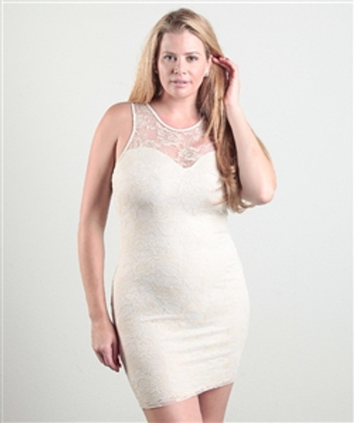 PLUS SIZE DRESS! IVORY LACE BODYCON FROM LOVE CHESLEY.