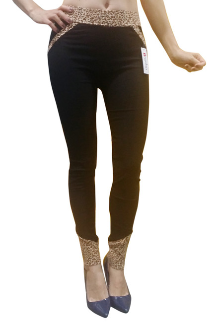 70% Rayon Jeggings! Charcoal Grey with Leopard Print Trims Pockets Zipper Ankles.