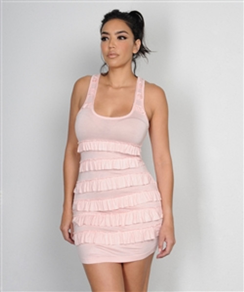 Bodycon Dress with Vintage/Retro Flapper Ruffles! Blush.