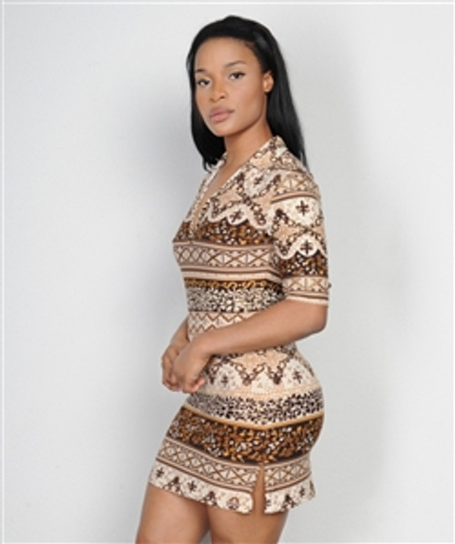 Brown & Tan Tribal Print Dress with V-Neck!